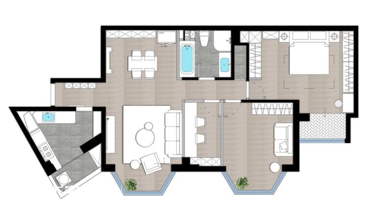 125平欧式轻奢风三居装修案例-4
