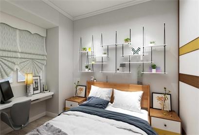 现代简约风格卧室, 清晨的一缕阳光进来, 感觉又是美好的一天!