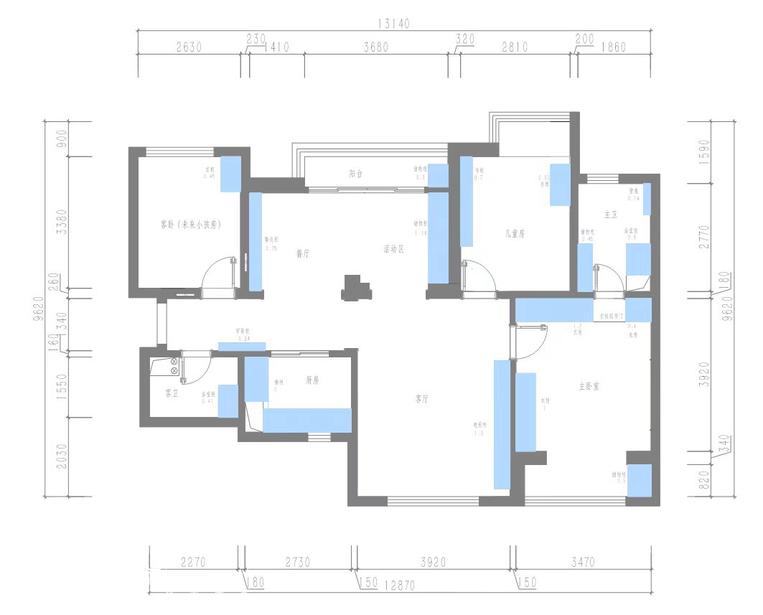 2+2+1家庭爆改四居室简约案例-3