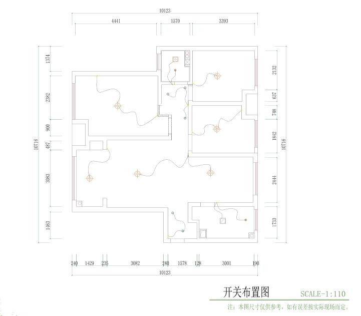 西安110平三室兩廳的硬裝設計圖紙-7